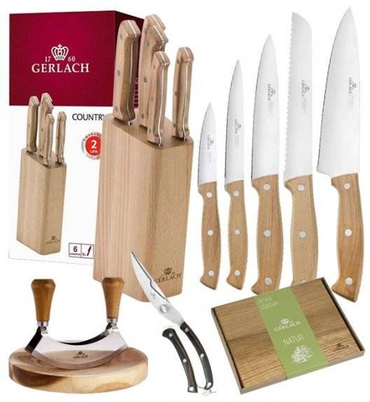 GERLACH COUNTRY Komplet 5 noży w bloku+ Tasak do ziół 2w1 Natur + deska drewniana mała 30 x 24 cm +nożyce