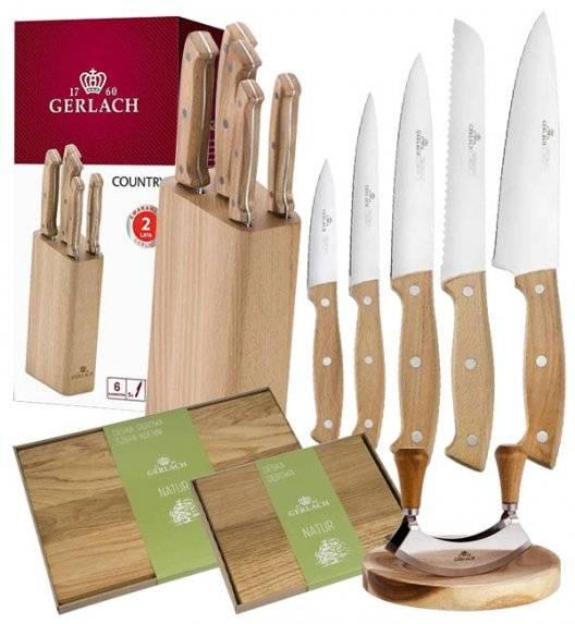 GERLACH COUNTRY Komplet 5 noży w bloku+ Tasak do ziół 2w1 Natur + komplet dwóch desek dębowych