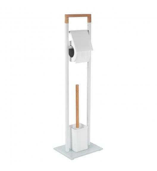 TADAR WOOD Stojak na papier toaletowy + szczotka do wc  / biały