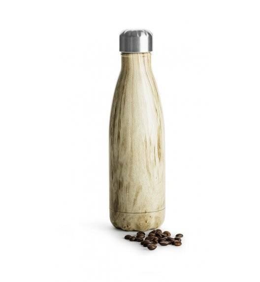 SAGAFORM TO GO Termiczna butelka stalowa / drewniany wzór / 0,5 l