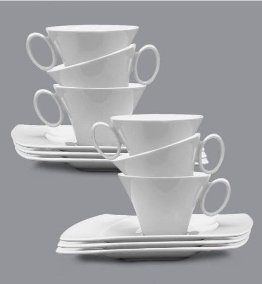 PROMOCJA! LUBIANA WING Komplet Filiżanka 220 ml + spodek 20,5 cm / 6 os / 12 el / porcelana