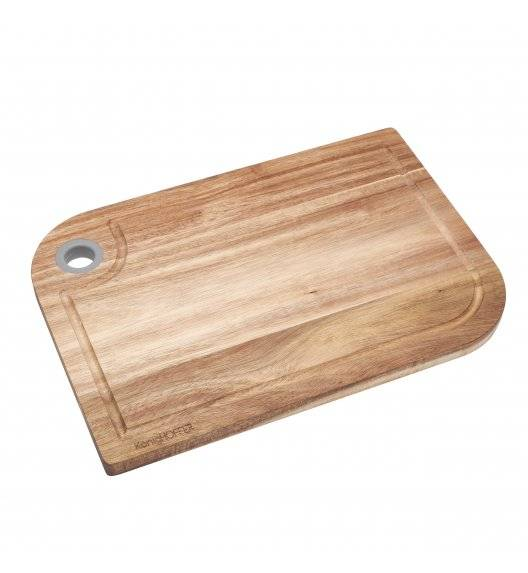 KONIGHOFFER Deska bambusowa do krojenia z silikonowym oczkiem / 33 x 23 x 1,5 cm / szary