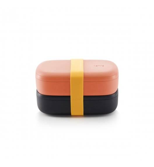 LEKUE TO GO Lunchbox / pojemnik śniadaniowy 2 x 500 ml / czarno - różowy