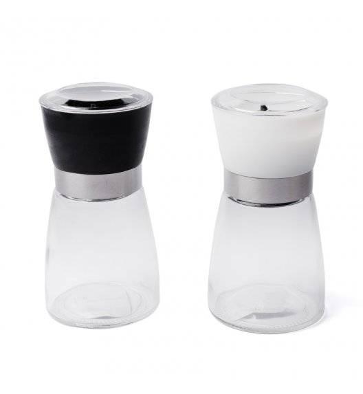 TADAR Zestaw szklanych młynków do soli i pieprzu 170 ml / czarny + biały