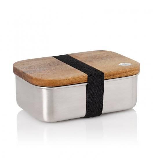 AdHoc COTTO Lunchbox / pojemnik śniadaniowy 600 ml / stal + drewno akacjowe
