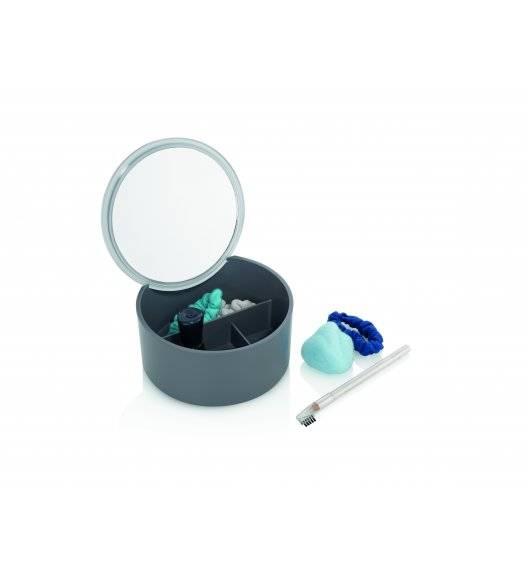 KELA TILDA Pojemnik / pudełko na biżuterię lub kosmetyki z lusterkiem Ø13 cm / szary