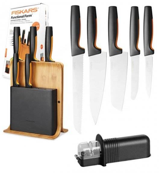 FISKARS FUNCTIONAL FORM 1057552 Komplet 5 noży w bloku bambusowym + NN ostrzałka uniwersalna