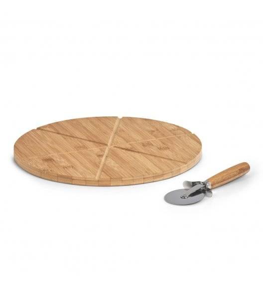 WYPRZEDAŻ! ZELLER Zestaw do serwowania pizzy / 2 el / stal + drewno bambusowe