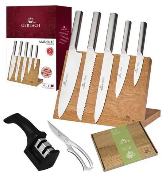 GERLACH AMBIENTE MAGNETIC Komplet 5 noży z deską magnetyczną + ostrzałka 2w1 + nożyce do drobiu + deska Natur