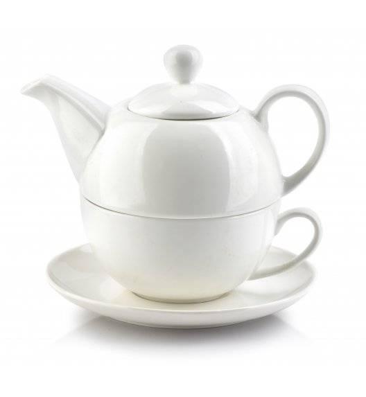 COOKINI BASIC Komplet czajnik 400 ml + filiżanka 250 ml ze spodkiem 15 cm / porcelana