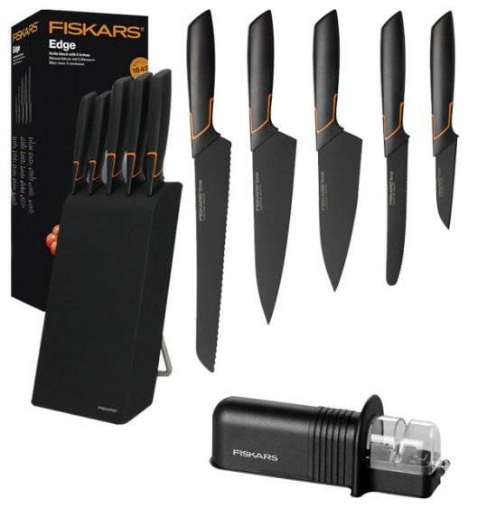 FISKARS EDGE 1003099 Zestaw 5 noży kuchennych w bloku czarnym / stal 420J2 / czarne ostrza + OSTRZAŁKA Essential