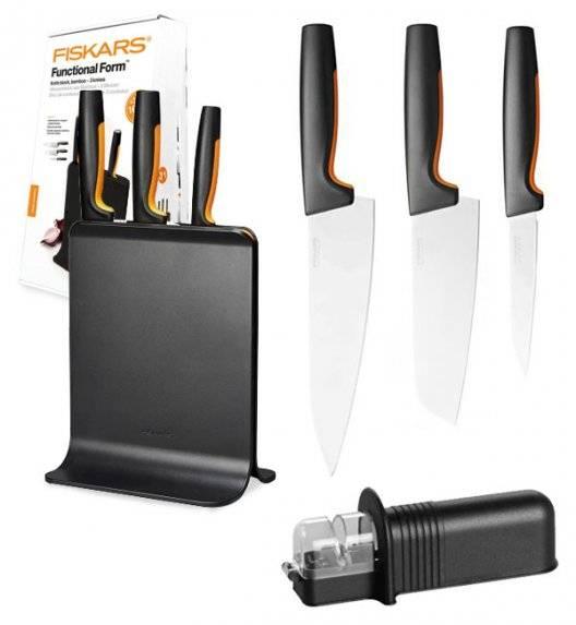 FISKARS FUNCTIONAL FORM 1057555 Komplet 3 noży w bloku czarnym + NN ostrzałka uniwersalna