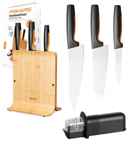 FISKARS FUNCTIONAL FORM 1057553 Komplet 3 noży w bloku bambusowym + ostrzałka uniwersalna NN
