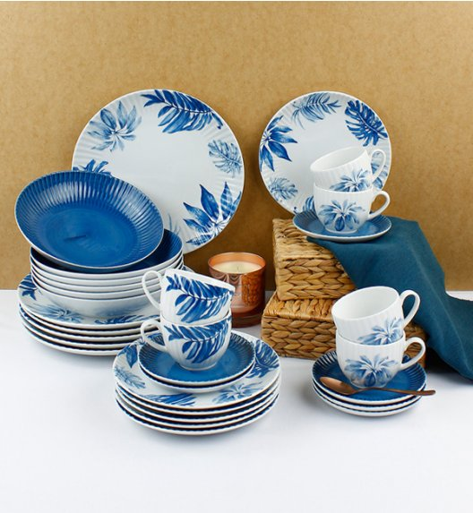 WYPRZEDAŻ! LUBIANA DAISY BLUE Serwis obiadowo - kawowy 6 osób / 24 elementy / Porcelana ręcznie zdobiona
