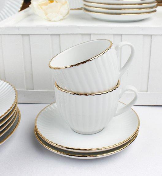 WYPRZEDAŻ! LUBIANA DAISY GOLD Serwis kawowy 8 elementów / 4 osoby / Porcelana ręcznie zdobiona