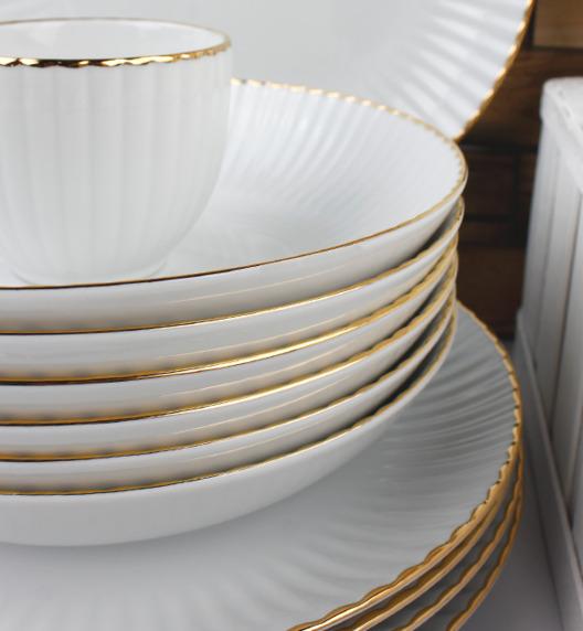 WYPRZEDAŻ! LUBIANA DAISY GOLD Zestaw 6 talerzy głębokich / Porcelana ręcznie zdobiona