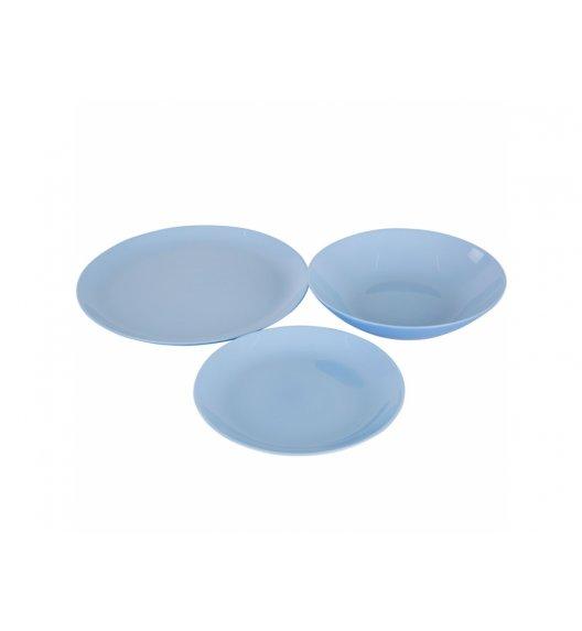 WYPRZEDAŻ! LUMINARC DIWALI LIGHT BLUE Komplet obiadowy 17 el dla 6 os / Wyprodukowane we Francji / Szkło hartowane / 00443