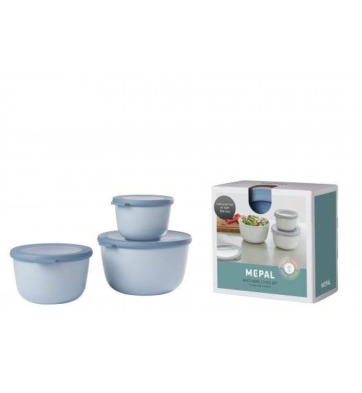 MEPAL CIRQULA Komplet 3 misek z wieczkiem 500 ml + 1 l + 2 l / nordic blue