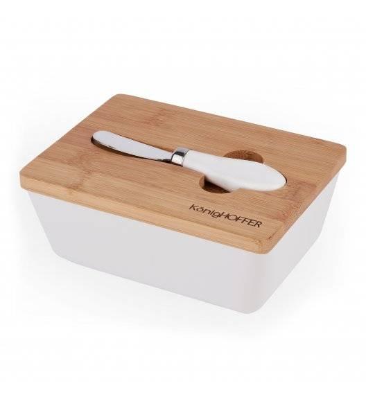 KONIGHOFFER Porcelanowa maselnica z bambusową pokrywą + łyżeczka / biała