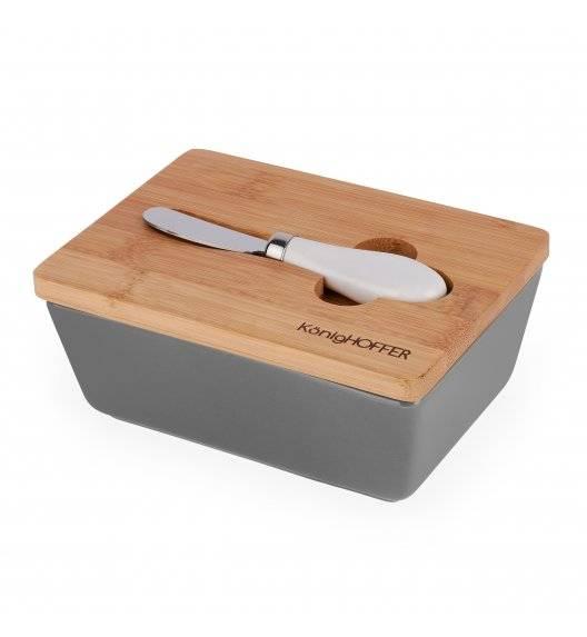 KONIGHOFFER Porcelanowa maselnica z bambusową pokrywą + łyżeczka / szara