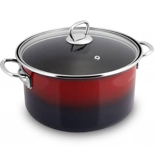 WYPRZEDAŻ! LAMART EMAIL Garnek emaliowany czarno-czerwony 20 cm / 3,2 L / indukcja / LT1182