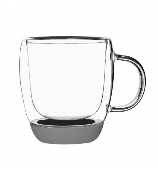 TADAR GARET Szklanki termiczne do kawy z szarym silikonowym dnem / 330 ml / 2 sztuki