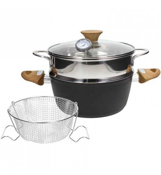 TOGNANA COUNTRY CHIC Garnek do gotowania na parze oraz smażenia na głębokim oleju 22 cm / powłoka wzmocniona pyłem diamentowym