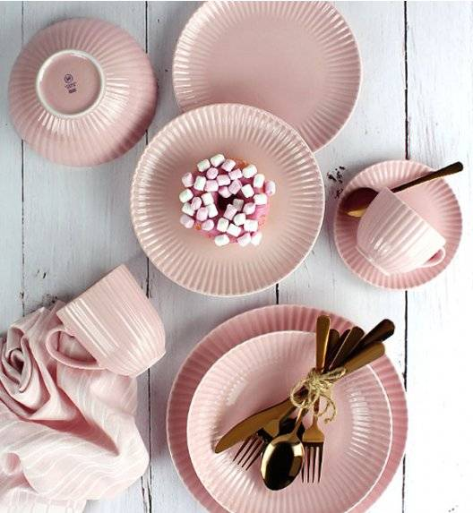 LUBIANA DAISY K7 Serwis obiadowo - kawowy 12 osób / 84 elementy / różowy