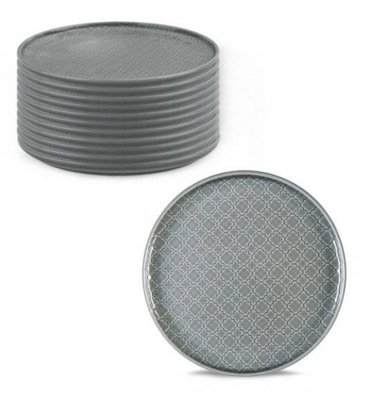 LUBIANA MARRAKESZ K1 12 x talerz deserowy 20 cm / szary / porcelana