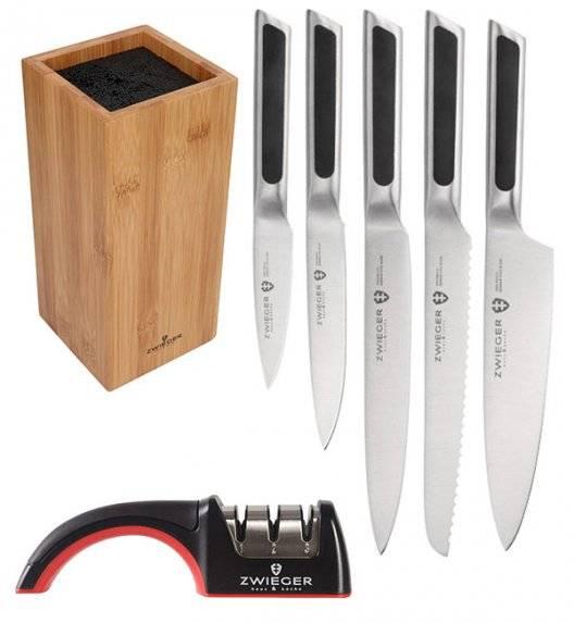 ZWIEGER KLASSIKER Komplet 5 noży w bloku drewnianym + ostrzałka Rapid / stal nierdzewna + drewno bambusowe