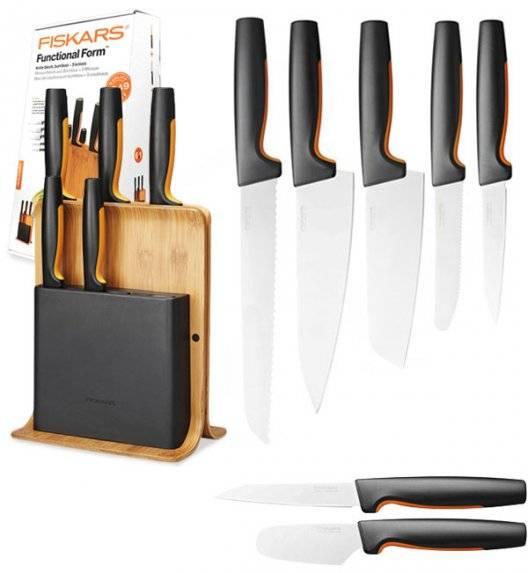 FISKARS FUNCTIONAL FORM 1057552 Komplet 5 noży w bloku bambusowym + nóż do skrobania + nóż do smarowania