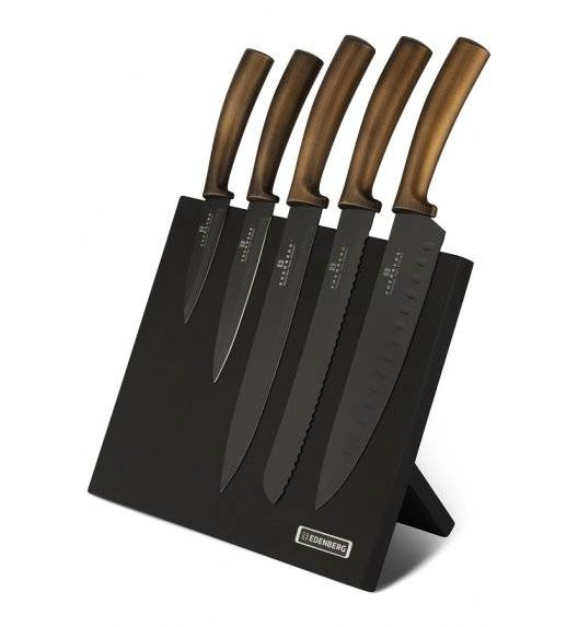 EDENBERG EB-964 Komplet noży w bloku 6 elementów / blok magnetyczny