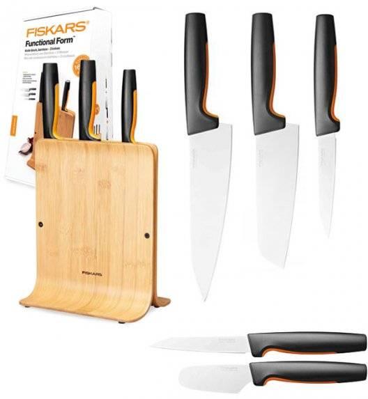 FISKARS FUNCTIONAL FORM 1057553 Komplet 3 noży w bloku bambusowym + nóż do smarowania + nóż do skrobania