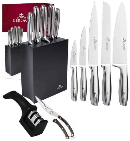 GERLACH MODERN 993 Komplet noży w bloku + ostrzałka 2w1 + nożyce drewniane dp drobiu