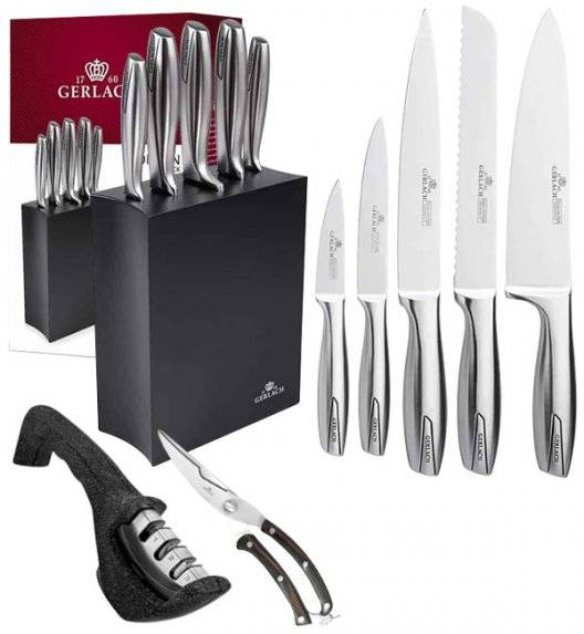 GERLACH MODERN 993 Zestaw noży w bloku czarne 6 elementów + ostrzałka Granitex 3w1 + Nożyce drewniane do drobiu
