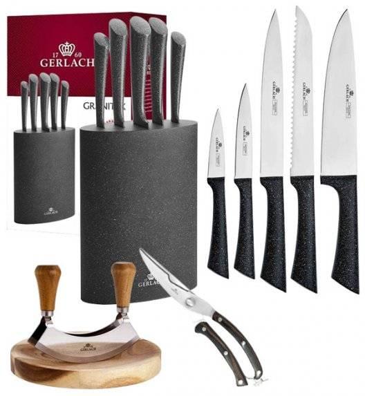 GERLACH GRANITEX Komplet 5 noży w bloku + Tasak do ziół z deską +nożyce drewniane