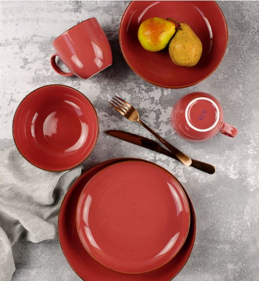 LUBIANA RONDO KK Serwis obiadowy 30 el dla 6 os / koralowy / porcelana
