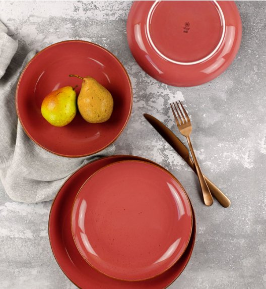 LUBIANA RONDO KK Serwis obiadowy 18 el dla 6 os / koralowy / porcelana