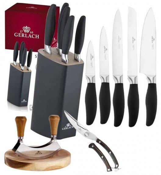 GERLACH STYLE Komplet 5 noży w bloku + Natur Tasak do ziół z deską +nożyce drewniane do drobiu