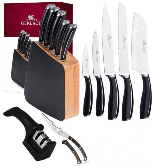 GERLACH LOFT Komplet 5 noży w bloku + ostrzałka 2w1 + nożyce drewniane do drobiu