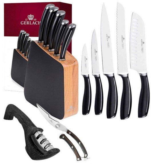GERLACH LOFT Komplet 5 noży w bloku + ostrzałka 3w1 Granitex +nożyce drewniane do drobiu