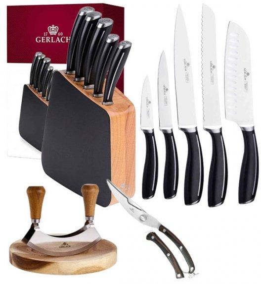 GERLACH LOFT Komplet 5 noży w bloku + Gerlach Natur Tasak do ziół z deską + nożyce drewniane do drobiu
