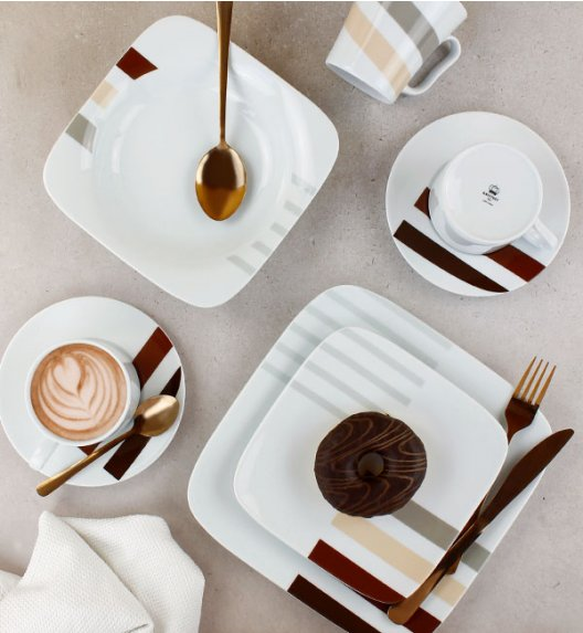 KRISTOFF TIMON PASKI Serwis obiadowy 108 el / 18 osób / porcelana