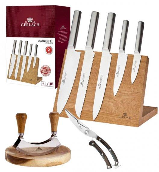 GERLACH AMBIENTE MAGNETIC Komplet 5 noży z deską magnetyczną + tasak do ziół Natur + nożyce drewniane do drobiu