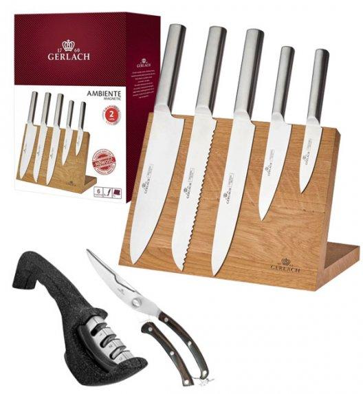 GERLACH AMBIENTE MAGNETIC Komplet 5 noży z deską magnetyczną + ostrzałka 3w1 + nożyce drewniane do drobiu