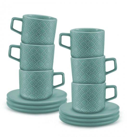 LUBIANA MARRAKESZ K5 6 x Filiżanka 250 ml + spodek 15 cm / 12 el / morski / porcelana