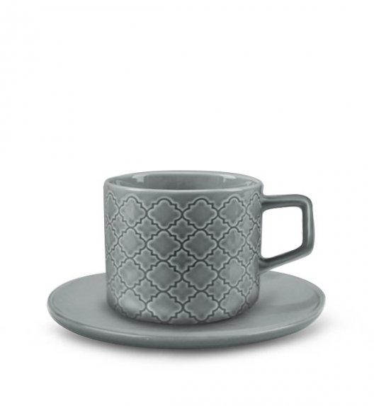 LUBIANA MARRAKESZ K1 Filiżanka 250 ml + spodek 15 cm / 2 el / szary / porcelana