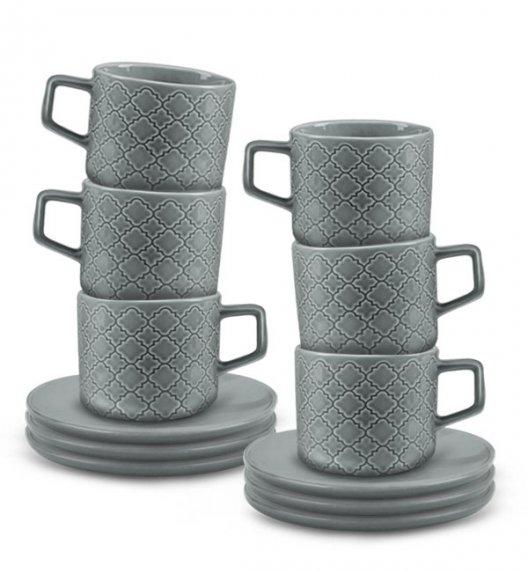 LUBIANA MARRAKESZ K1 6 x Filiżanka 250 ml + spodek 15 cm / 12 el / szary / porcelana