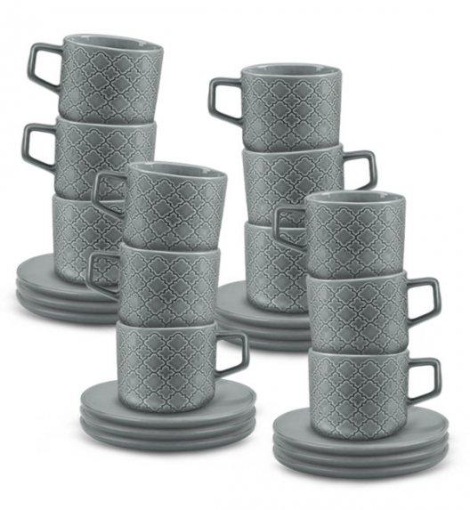 LUBIANA MARRAKESZ K1 12 x Filiżanka 250 ml + spodek 15 cm / 24 el / szary / porcelana