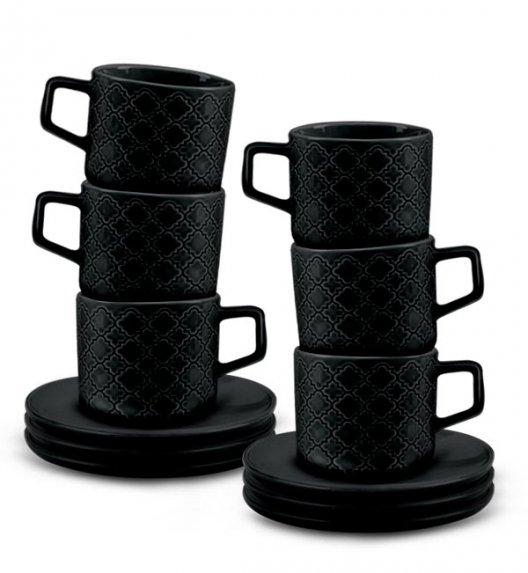 LUBIANA MARRAKESZ K8 6 x Filiżanka 250 ml + spodek 15 cm / 12 el / czarny / porcelana